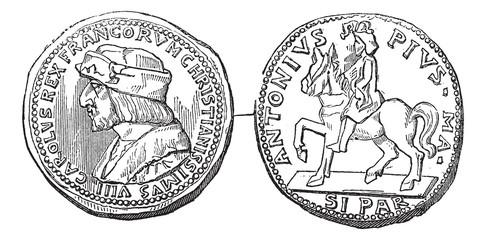 2. Medal of Charles VIII, vintage engraving.