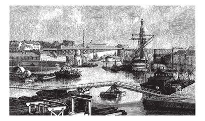 General view of the port of Brest. - Drawing Ph. Blanchard, vint