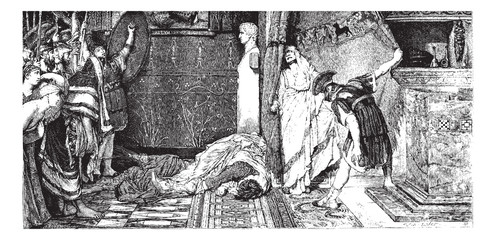 Caligula and Claude, painting by Alma-Tadema (see p 367). - Draw