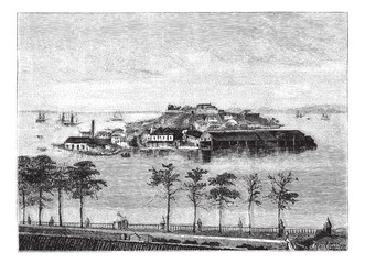 Snake Island in the Bay of Rio Janeiro. - Drawing Tirpenne, vint