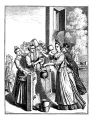 Relief soup, in Paris, during the famine of 1709, vintage engrav