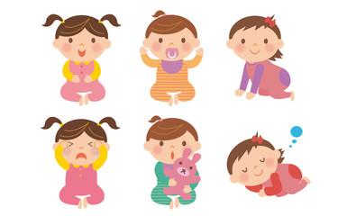 赤ちゃんのイラスト/女の子