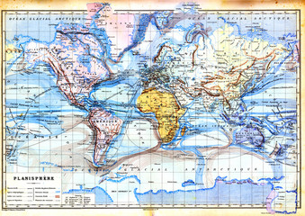 The old map of planisphere