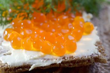 toast with salmon caviar