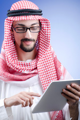 Arab businessman with tablet computer