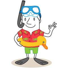Figur, Urlauber, Schwimmausrüstung
