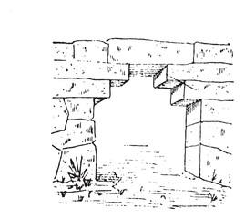 The gate at Phigalia vintage engraving
