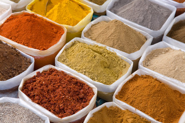 piles of Indian powder spices