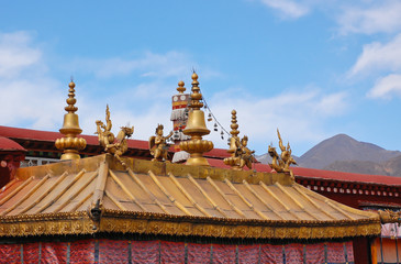 Gilt roof of Jokhang temple in Lhasa, Tibet