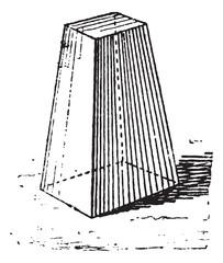 Truncated pyramid, vintage engraving.