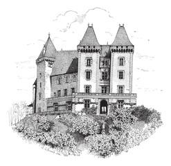 Chateau de Pau or Pau Castle in France vintage engraving