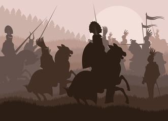 Medieval knights in battle vector background, rider leader