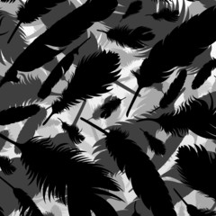 Bird feathers silhouettes background illustration vector