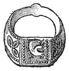Seal, Signet ring with the symbol of the dove, vintage engraving