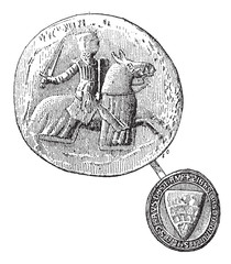 Seal against seal, Jean, Sire de Joinville died in 1317, vintage