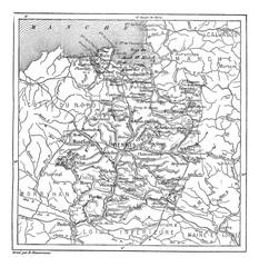 Map of Ille-et-Vilaine vintage engraving