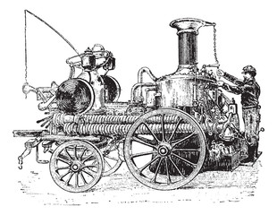 Steam pump on carriage vintage engraving