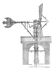 Windmill, vintage engraving.