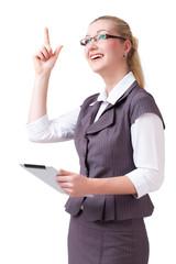 junge Geschäftsfrau mit Geistesblitz
