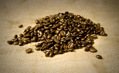 Wall Murals Coffee beans coffee beans on hessian