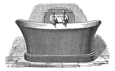 Copper bathtub vintage engraving