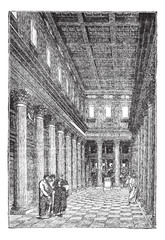 Interior of the basilica of Pompeii vintage engraving