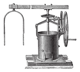 Mixer for the preparation of mortar vintage engraving