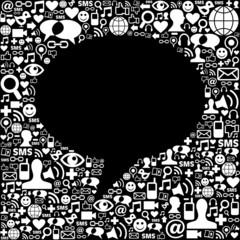 Social media icon set background composition