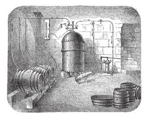 Beer pumps vintage engraving