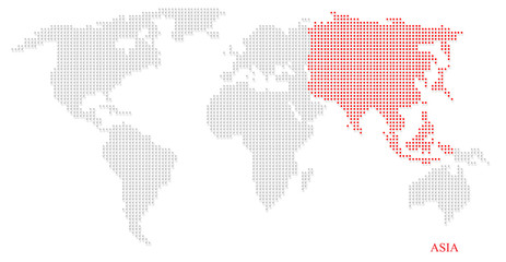 World dotted map highlight with red on Asia continent