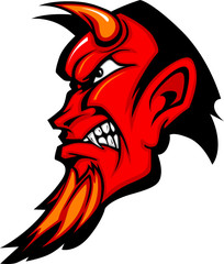 Devil Mascot Vector Profile with Horns