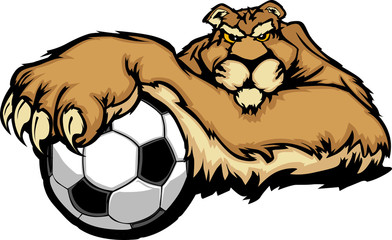 Cougar Mascot with Soccer Ball Vector Illustration