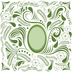 Easter green card with egg and floral ornament