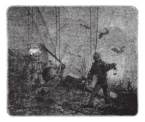 Surface supplied diving or Hooka diving, vintage engraving.