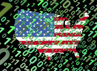 binary and USA map flag ilustration