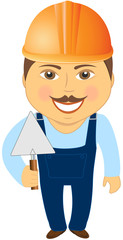 isolated cartoon builder with trowel