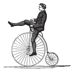 Penny-farthing or High Wheel Bicycle, vintage engraving