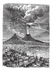 Eruption of Mount Vesuvius, in Naples, Italy, vintage engraving