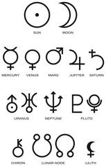 Astrology Planet Symbols. Illustration of the main planet symbols of astrology. Illustration on white background. Vector.