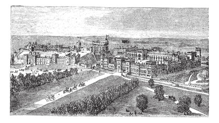 Windsor Castle in Windsor Berkshire England vintage engraving