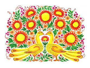 hand painted illustration: Bouquet  and golden pheasants