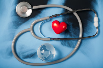 Stethoscope and heart on X-ray
