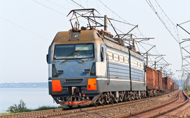 Freight train on a bank of the Dnieper