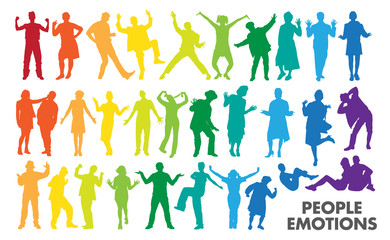 0604 Colorful People Emotions Silhouettes