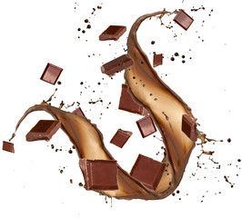 Chocolate bars in chocolate splash on white background