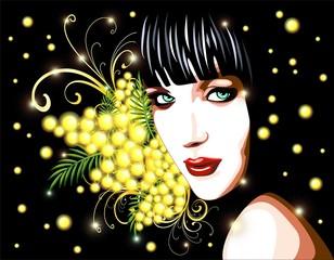 Ragazza con Mimosa-Festa della Donna-Girl with Mimosa-Vector
