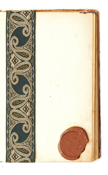 blank page open book with seal wax and antique ribbon on white b