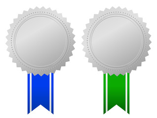 Award medals with ribbon, vector illustration