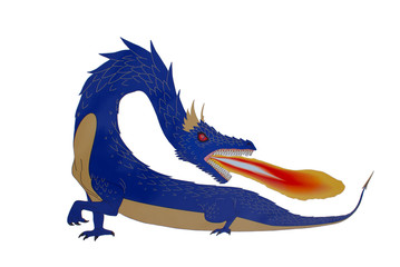 Painted blue flaming dragon