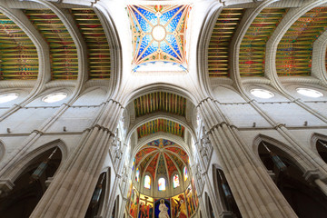 Interior of Almudena cathedral, Madrid, Spain